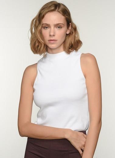 NGSTYLE Ngkaw21Bl0003 Yüksek Yakalı Bluz Beyaz